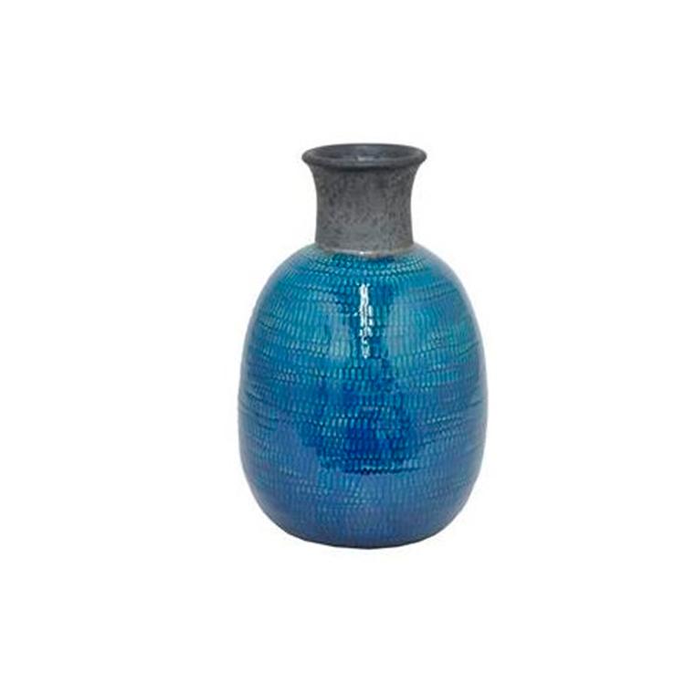 Jarrón cerámica azul I