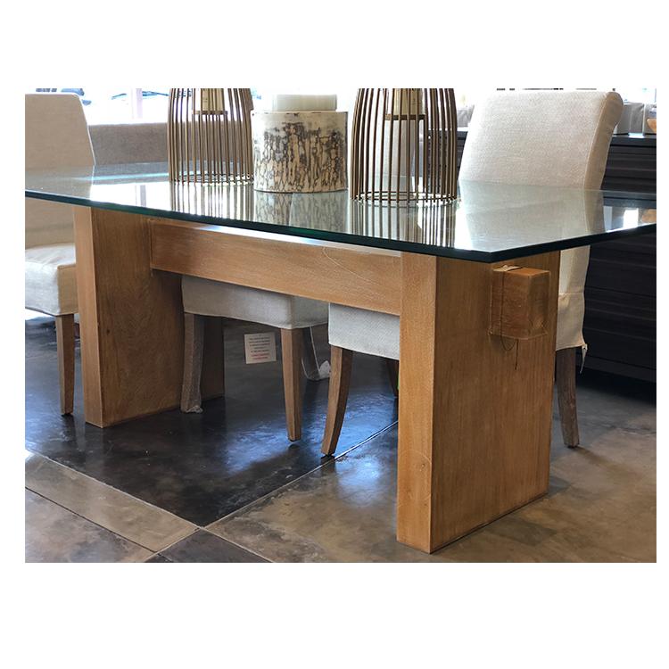 Mesa de Comedor de cristal rectangular
